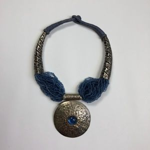 Jewelry - BLUE MIXED MEDIA MEDALLION NECKLACE